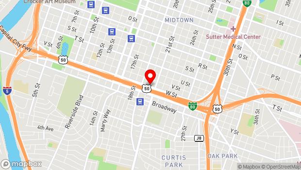 Google Map of 2021 W Street, Sacramento, CA 95818