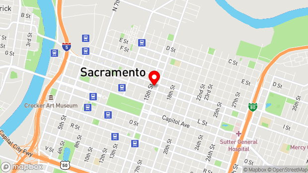 Google Map of 1515 J Street, Sacramento, CA 95814