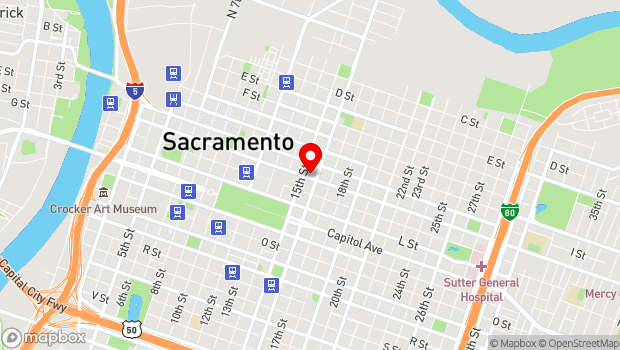 Google Map of 1515 J St., Sacramento, CA 95814