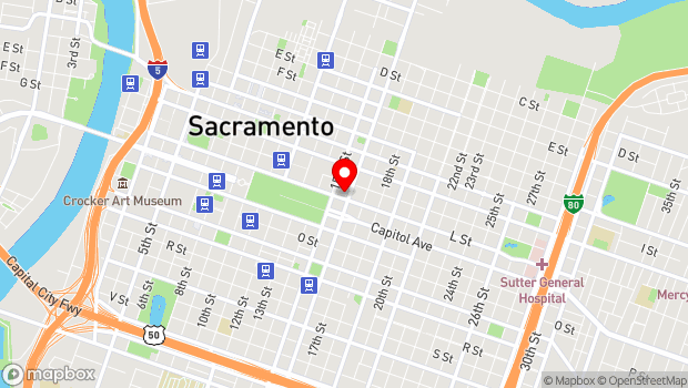 Google Map of 1521 L Street, Sacramento, CA 95818
