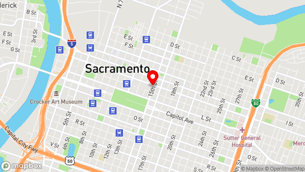 Google Map of 1430 J St., Sacramento, CA 95814