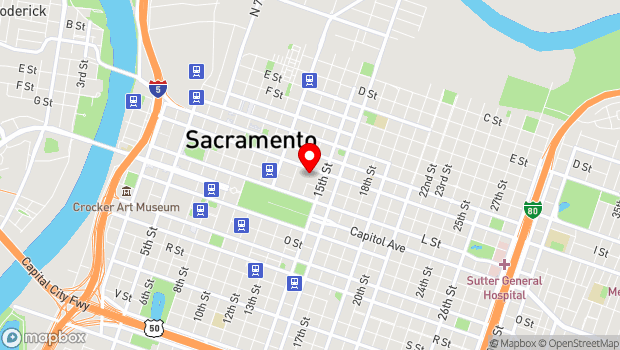 Google Map of 1400 J St., Sacramento, CA 95814