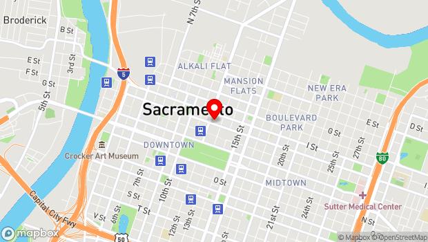 Google Map of 1215 J Street, Sacramento, CA 95814