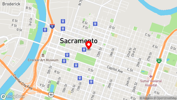 Google Map of 1211 K Street, Sacramento, CA 95814