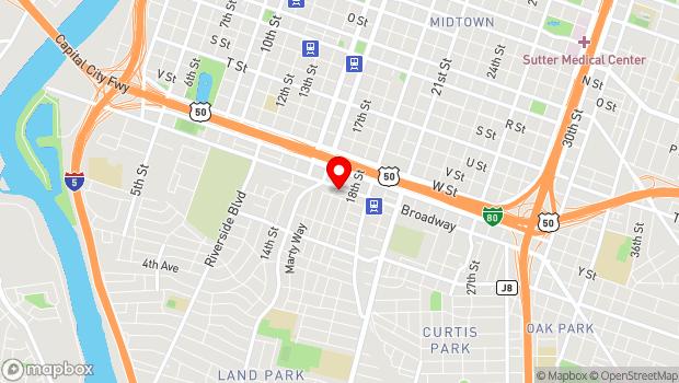Google Map of 1704 Broadway, Sacramento, CA 95818