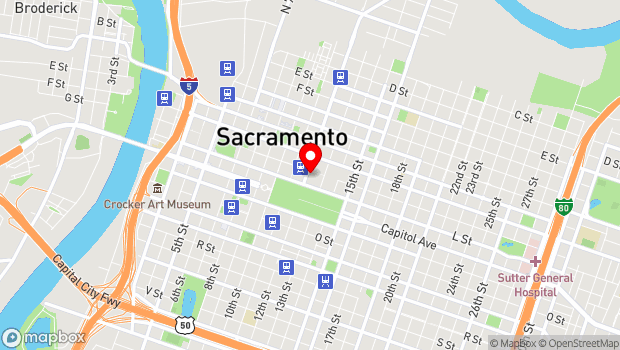 Google Map of 1200 K Street, Sacramento, CA 95814