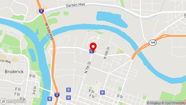 Google Map of North 7th St. and Richards Blvd, Sacramento, CA 95811
