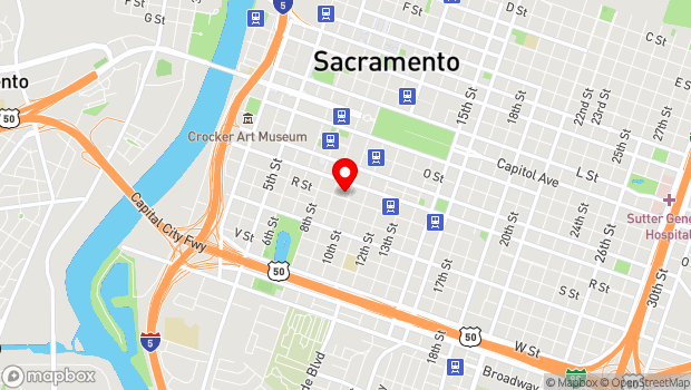 Google Map of 1724 10th St, Sacramento, CA 95811
