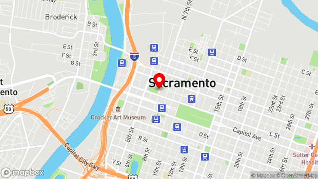 Google Map of 630 K St, Sacramento, CA 95814