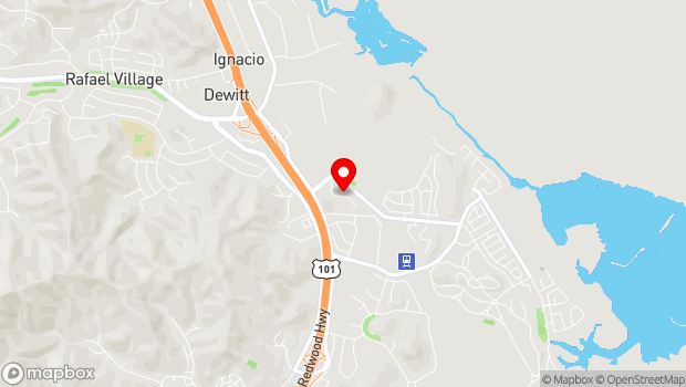 Google Map of 1385 N. Hamilton Pkwy, Novato, CA 94949