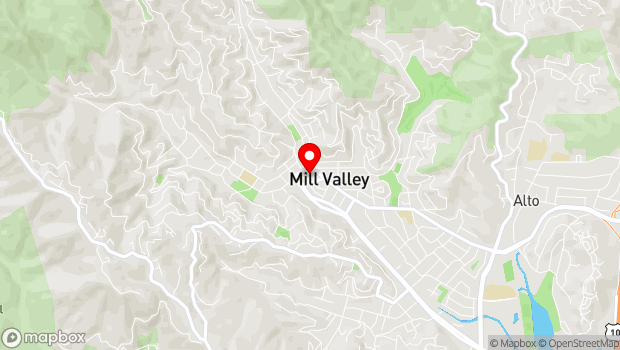 Google Map of 25 Throckmorton Ave., Mill Valley, CA 94941