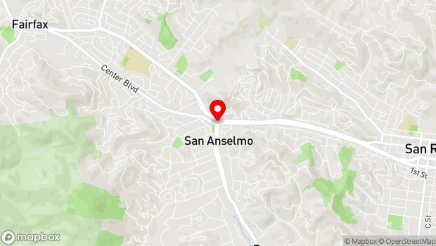 Google Map of Sir Francis Drake Blvd. at Center Blvd, San Anselmo, CA 94960