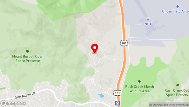 Google Map of 8001 Redwood Blvd, Novato, CA 94945