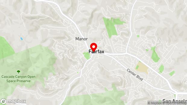 Google Map of Bolinas Road at Broadway Blvd., Fairfax, CA 94930