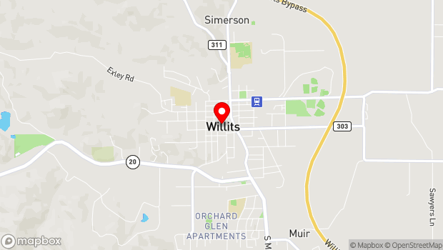 Google Map of 291 School St, Willits, CA 95490