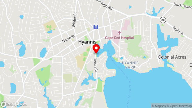 Google Map of 180 Ocean Street, Hyannis, MA 02601