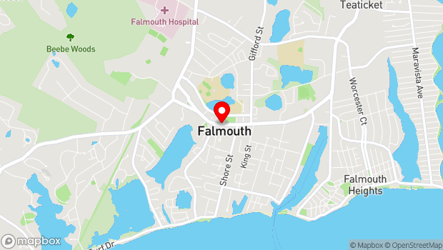 Google Map of Main St & Elm Arch Way, Falmouth, MA 02540
