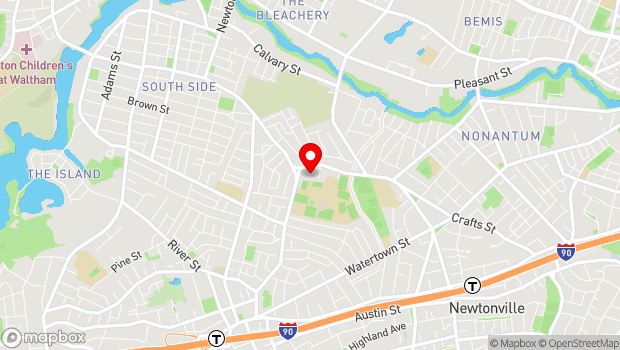 Google Map of 206 Waltham Street, West Newton, MA 02465