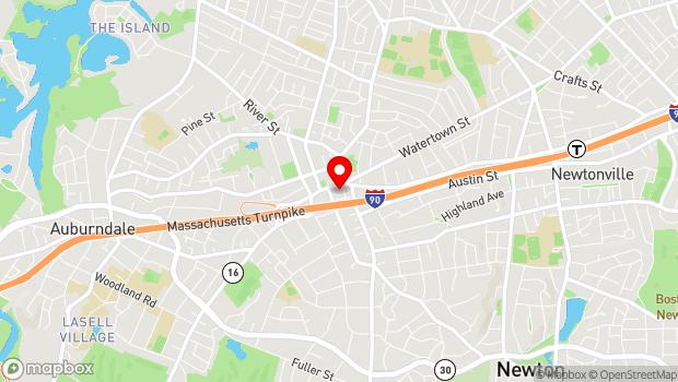 Google Map of 1296 Washington Street, Newton, MA 02465