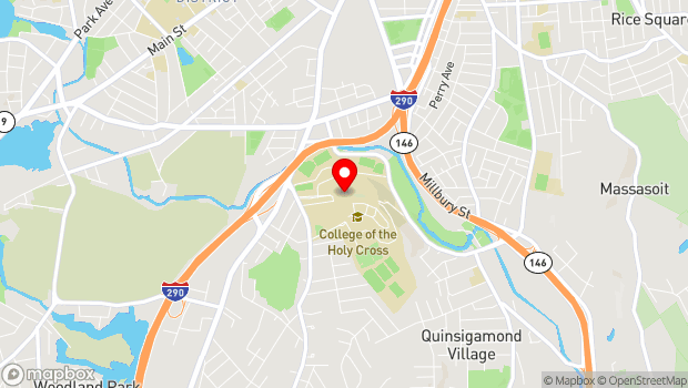 Google Map of 1 College Street, Worcester, MA 01610