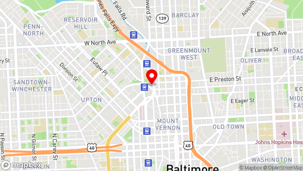 Google Map of 1212 Cathedral Street, Baltimore, MD 21201