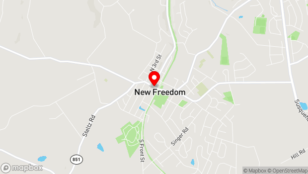 Google Map of 2 West Main Street, New Freedom, PA 17349