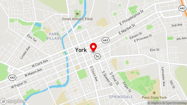 Google Map of 134 E. King Street, York, PA 17401