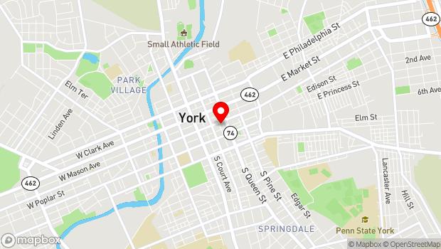 Google Map of 134 E. King St., York, PA 17401