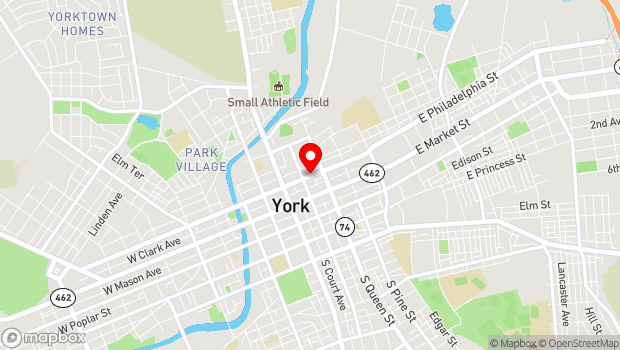Google Map of 123 East Philadelphia Street, York, PA 17401