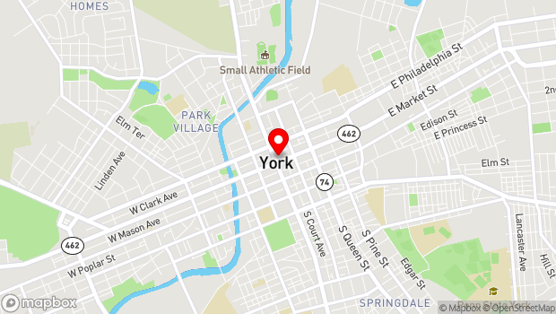 Google Map of 1 East Market St, York, PA 17401