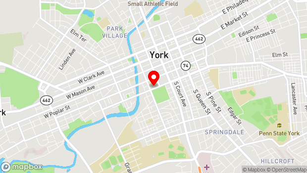 Google Map of 101 W College Ave, York, PA 17401