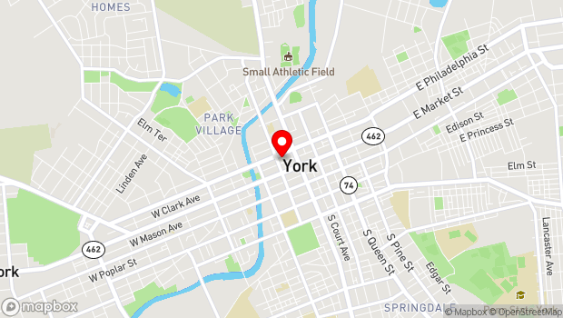 Google Map of 34 W Philadelphia St, York, PA 17401