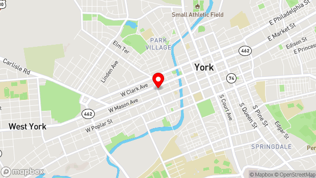 Google Map of 380 W Market St, York, PA 17401
