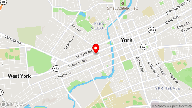 Google Map of 408 West Market Street, York, PA 17401