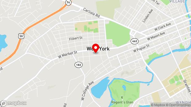Google Map of 33 S. Seward Street, York, PA 17404