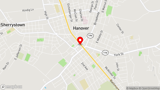 Google Map of 32 Carlisle St., Hanover, PA 17331