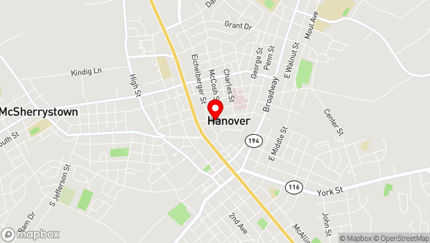Google Map of Eichelberger Performing Arts Center 195 Stock Street, Hanover, PA 17331