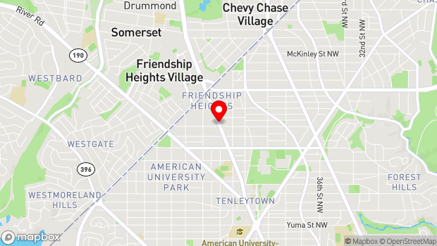 Google Map of 5207 Wisconsin Ave, NW, Friendship Heights, Bethesda, MD 20814