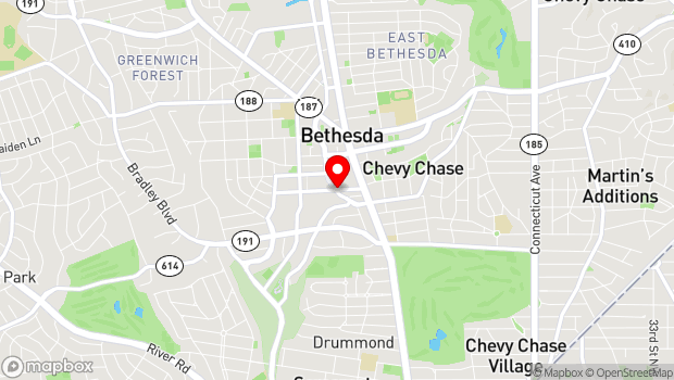Google Map of Woodmont and Bethesda Avenues, Bethesda, MD 20814