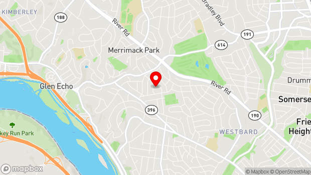 Google Map of 6005 Milo Dr, Bethesda, MD 20816