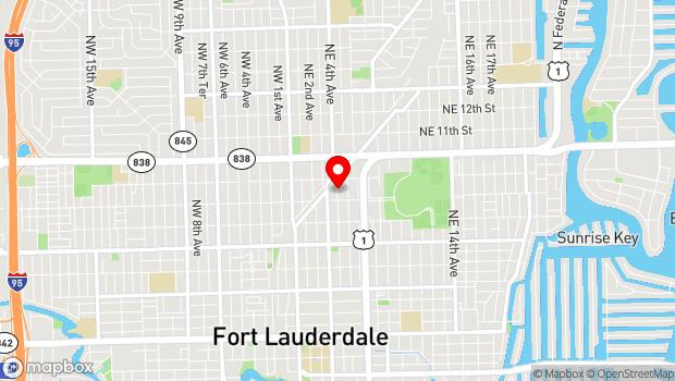 Google Map of 820 NE 4th Ave, Fort Lauderdale, FL 33304