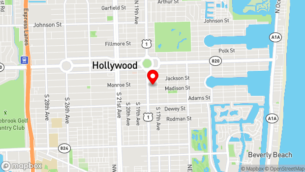 Google Map of 1770 Monroe Street, Hollywood, FL 33020