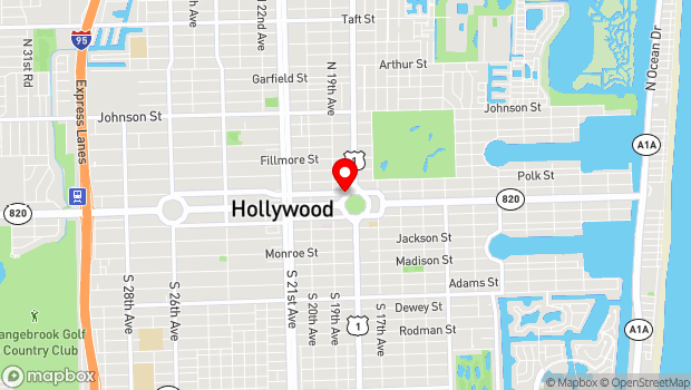 Google Map of 1 N Young Circle, Hollywood, FL 33020