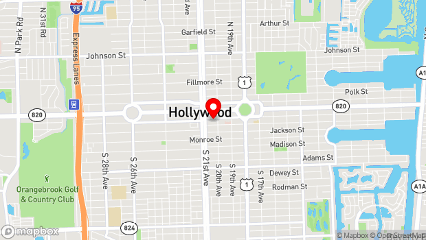Google Map of 2014 Harrison St., Hollywood, FL 33020
