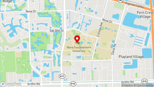 Google Map of Nova Southeastern University, 3301 College Avenue, , Fort Lauderdale, FL 33314