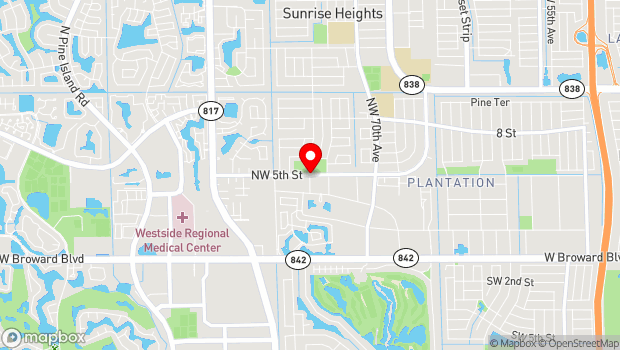 Google Map of Northwest 74th Avenue and Northwest 5th Street, Fort Lauderdale, FL 33318