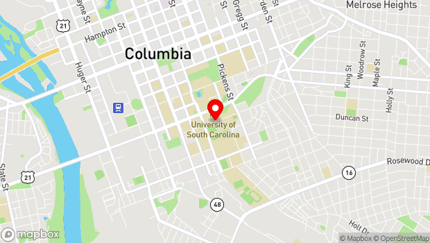 Google Map of 1400 Wheat Street, Columbia, SC 29208
