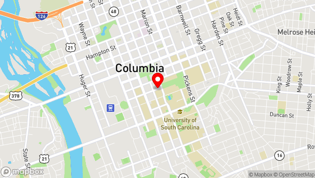 Google Map of 1214 College St., Columbia, SC 29201