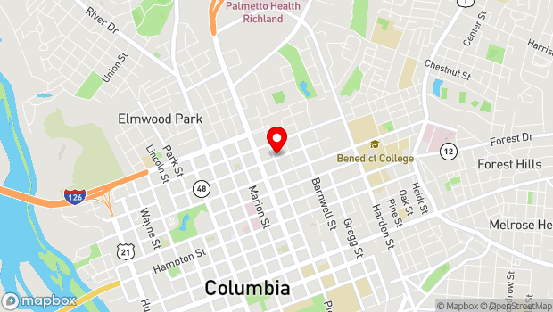 Google Map of 1601 Richland Street, Columbia, SC 29201