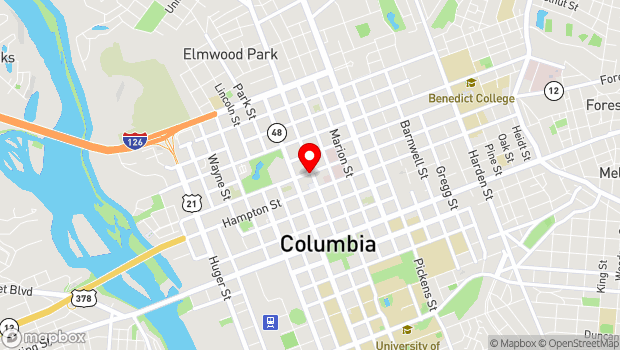 Google Map of 1545 Main Street, Columbia, SC 29201